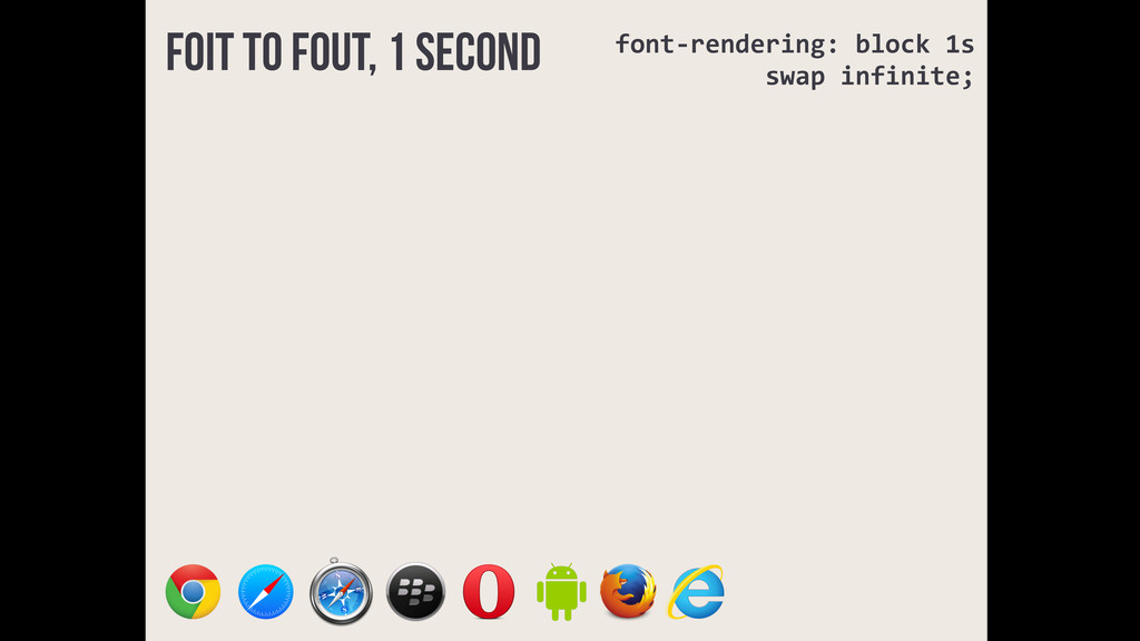 FOIT to FOUT, 1 second font-­‐rendering:	