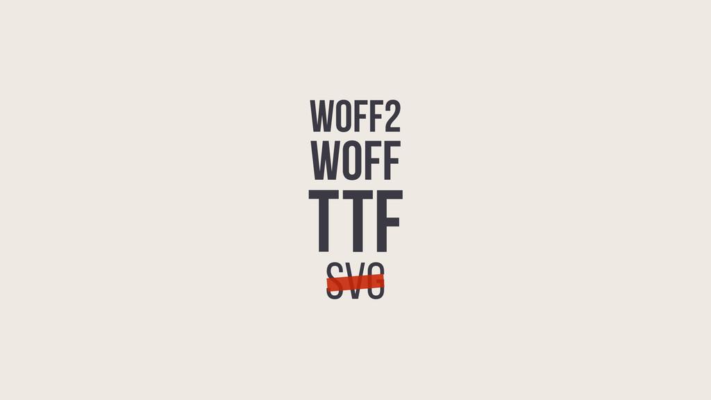 WOFF2 WOFF OTF SVG T