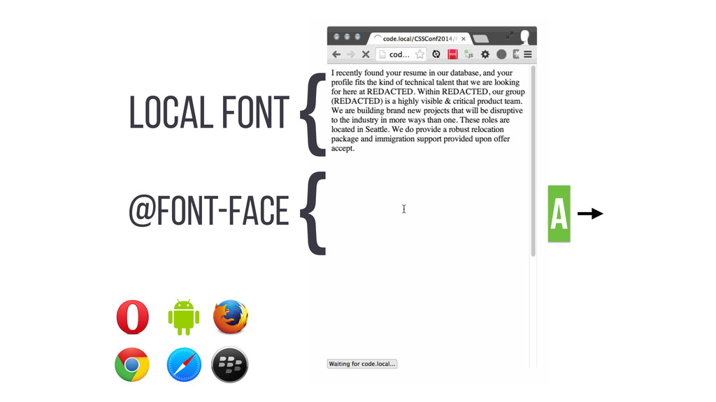 LOCAL FONT { @FONT-FACE { A
