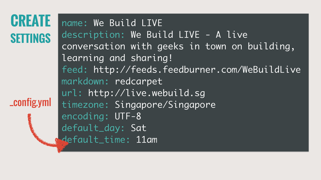 CREATE SETTINGS name: We Build LIVE description...