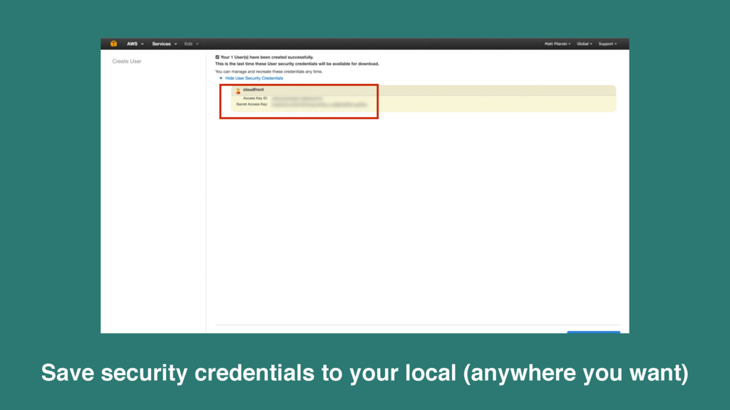 Save security credentials to your local (anywhe...