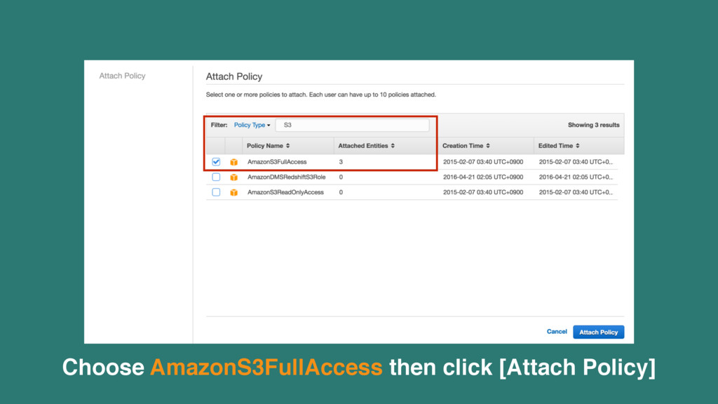 Choose AmazonS3FullAccess then click [Attach Po...