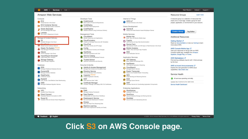 Click S3 on AWS Console page.