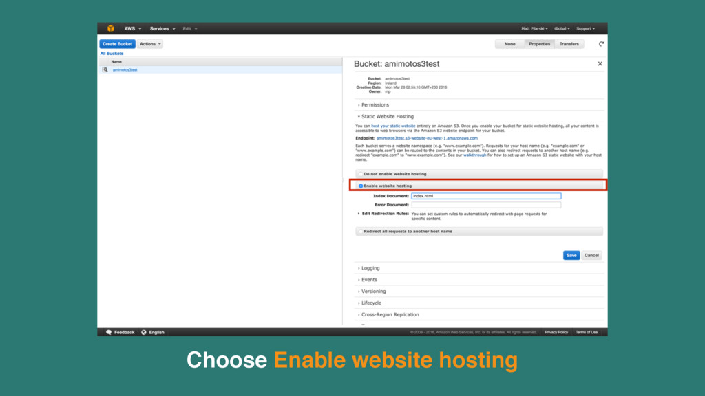Choose Enable website hosting