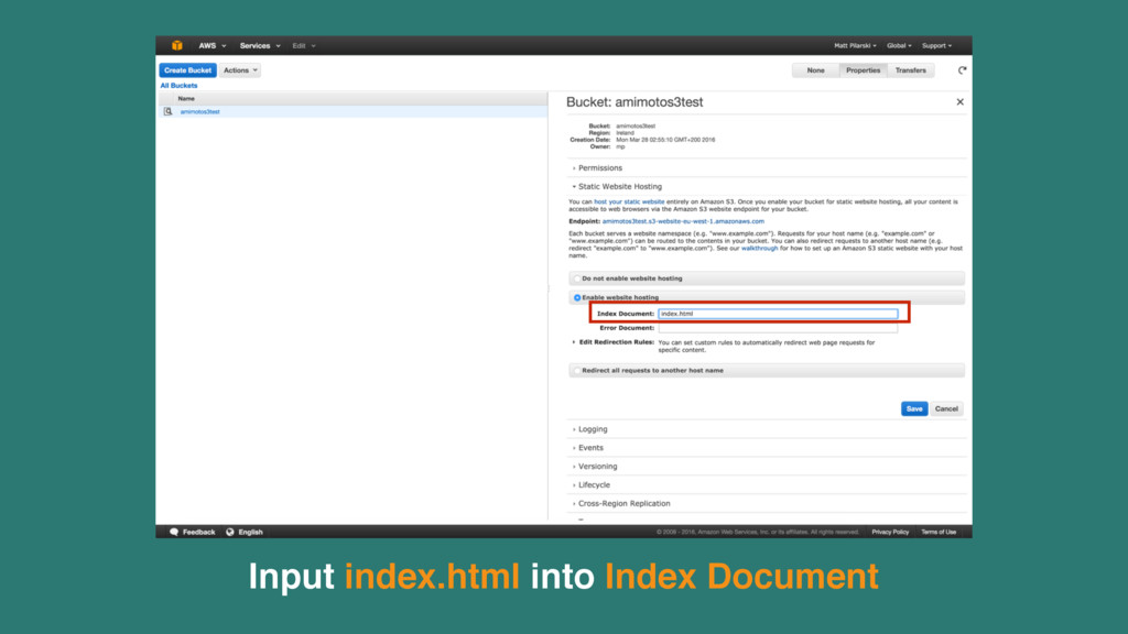 Input index.html into Index Document