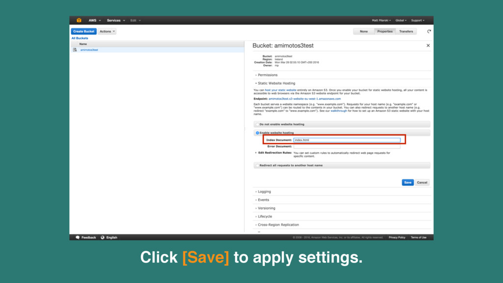 Click [Save] to apply settings.