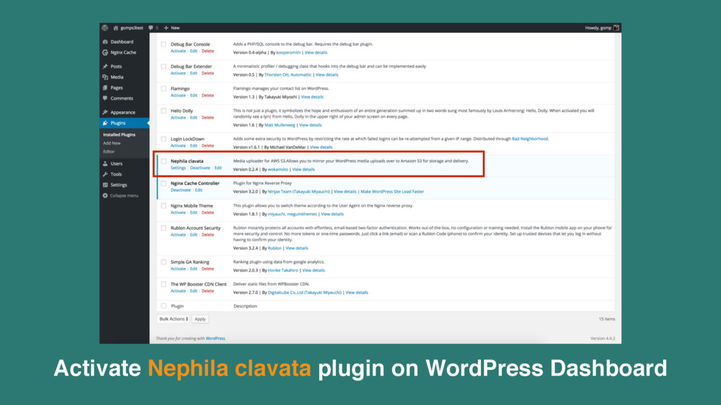 Activate Nephila clavata plugin on WordPress Da...