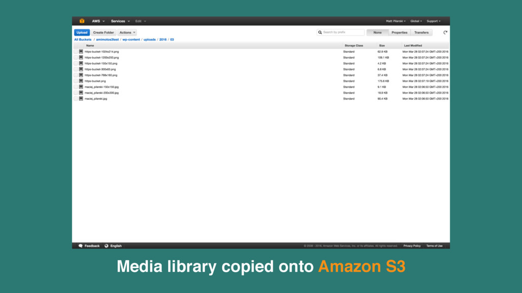 Media library copied onto Amazon S3