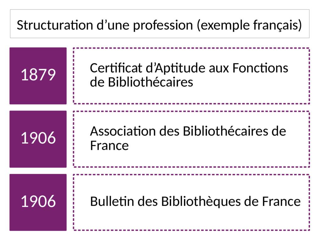 Structuration d'une profession (exemple françai...