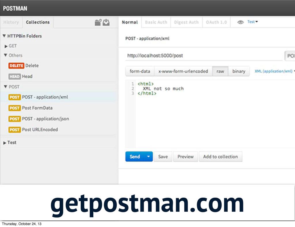 getpostman.com Thursday, October 24, 13