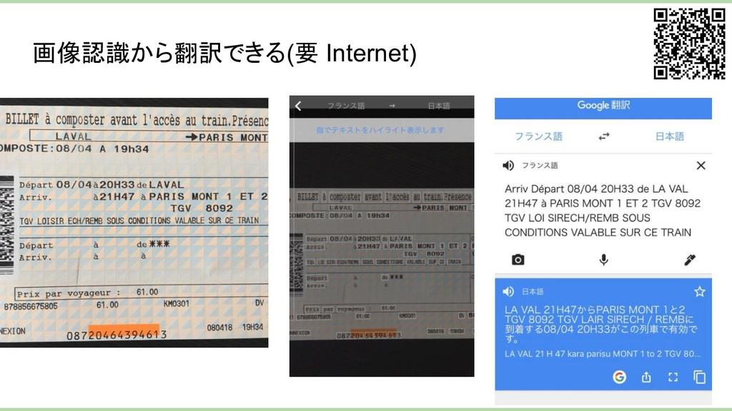 画像認識から翻訳できる(要 Internet)