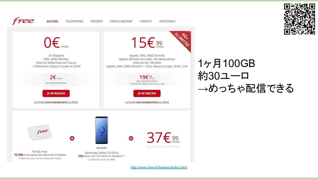1ヶ月100GB 約30ユーロ →めっちゃ配信できる   http://www.free.fr...