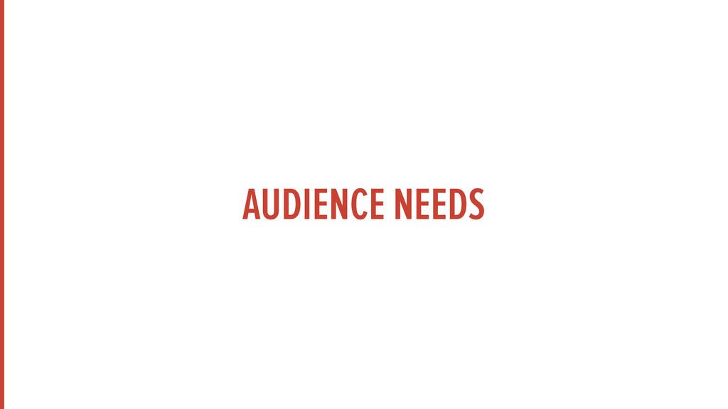 AUDIENCE NEEDS