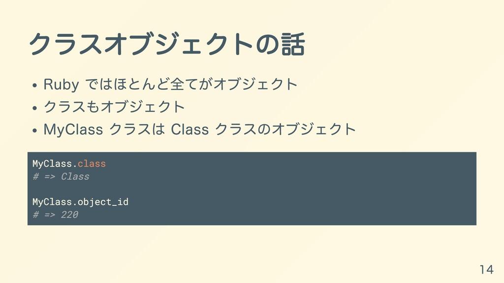 クラスオブジェクトの話 Ruby ではほとんど全てがオブジェクト クラスもオブジェクト MyC...