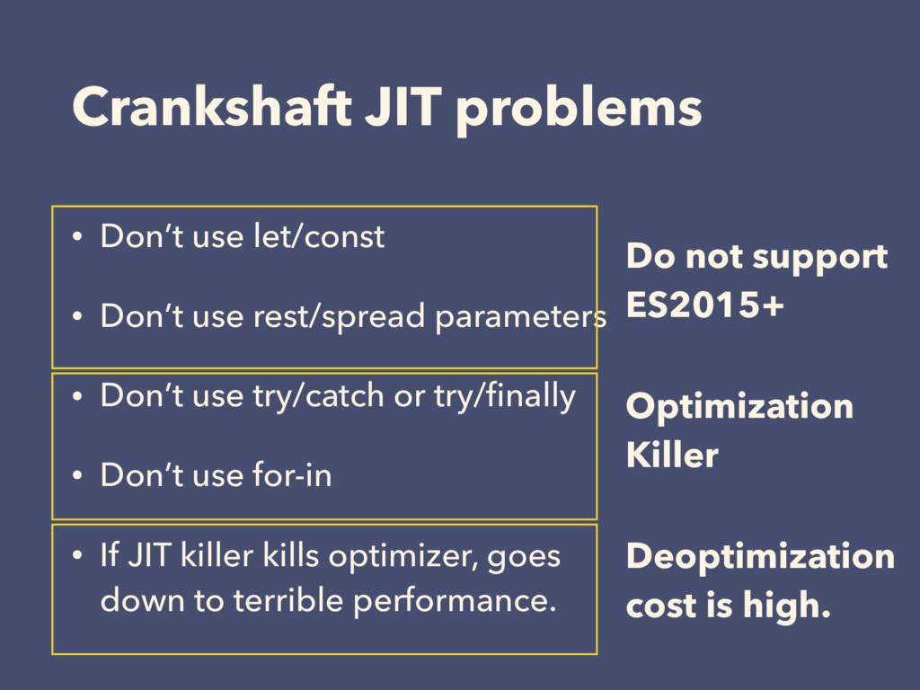 Crankshaft JIT problems • Don't use let/const •...