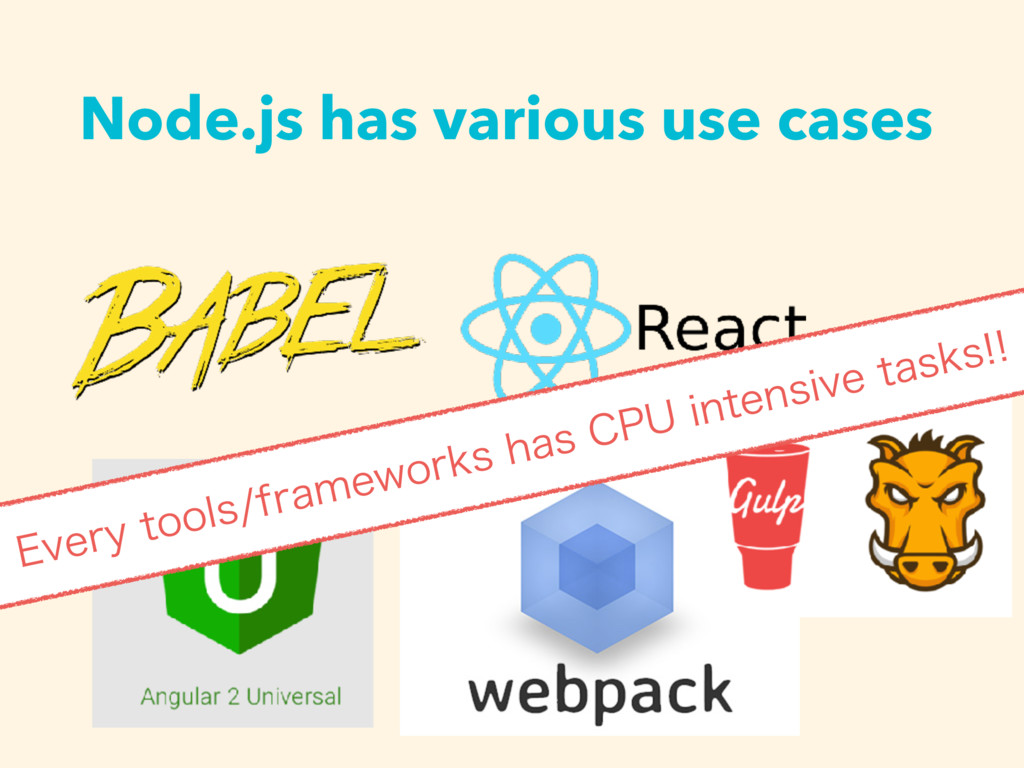 Node.js has various use cases &WFSZUPPMTGSBNF...
