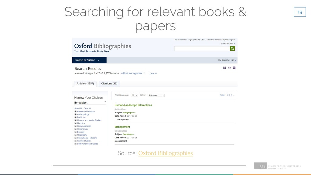19 Searching for relevant books & papers Source...