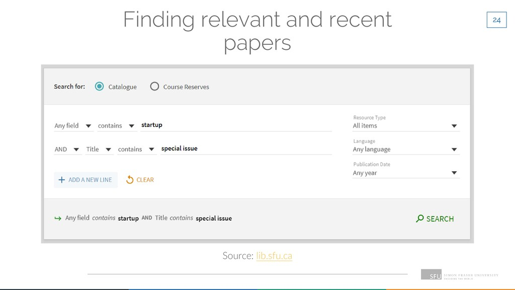 24 Finding relevant and recent papers Source: l...