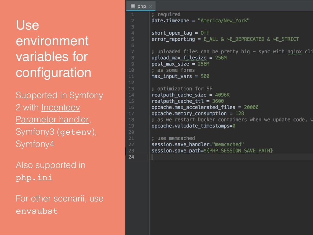Use environment variables for configuration Supp...