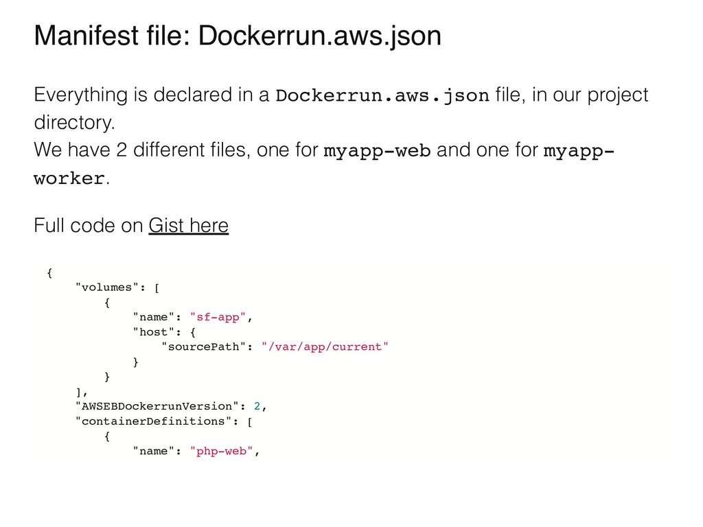 Manifest file: Dockerrun.aws.json Everything is ...