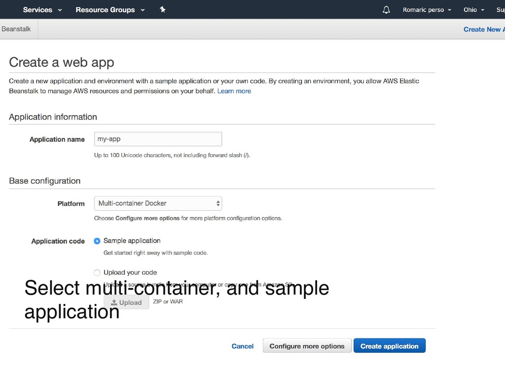 Select multi-container, and sample application