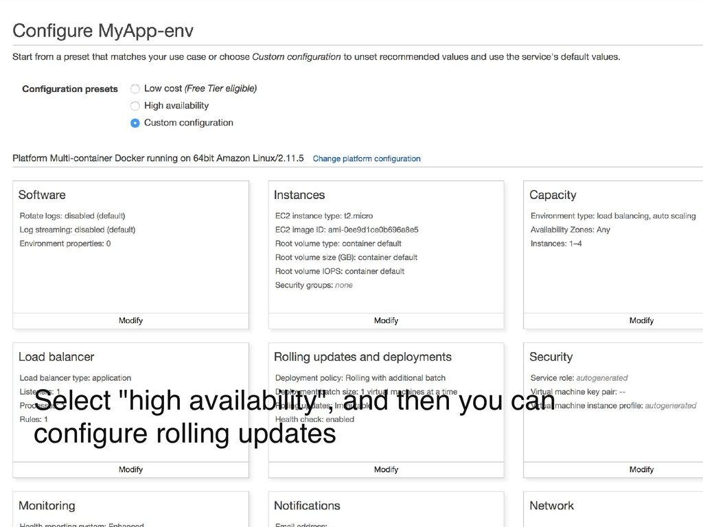 "Select ""high availability"", and then you can co..."
