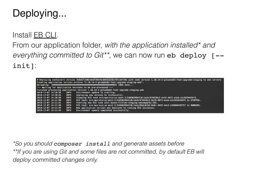 Deploying... Install EB CLI. From our applicati...