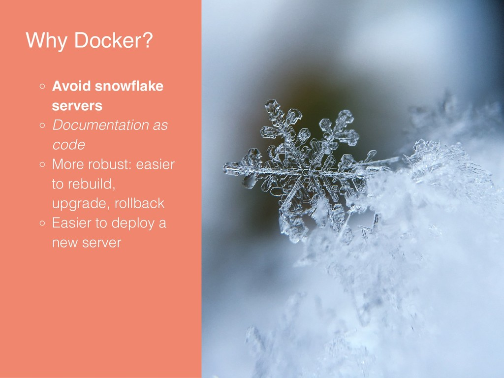 Why Docker? Avoid snowflake servers Documentatio...