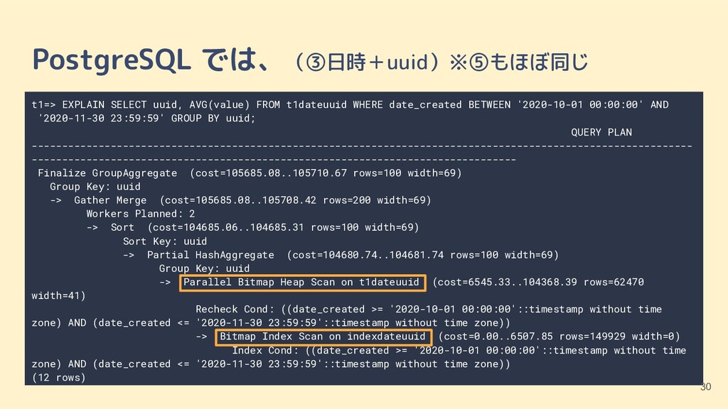 t1=> EXPLAIN SELECT uuid, AVG(value) FROM t1dat...