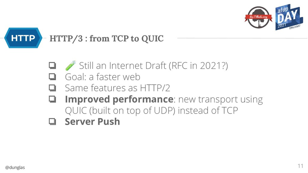 @dunglas HTTP/3 : from TCP to QUIC ❏ 🧪 Still an...