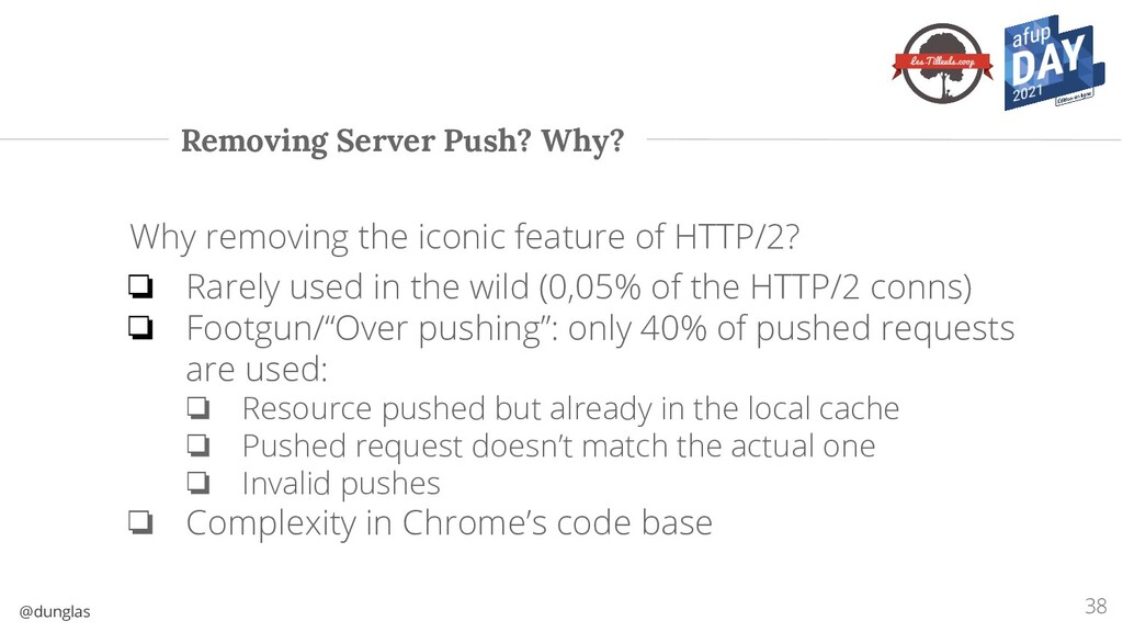 @dunglas Removing Server Push? Why? 38 Why remo...