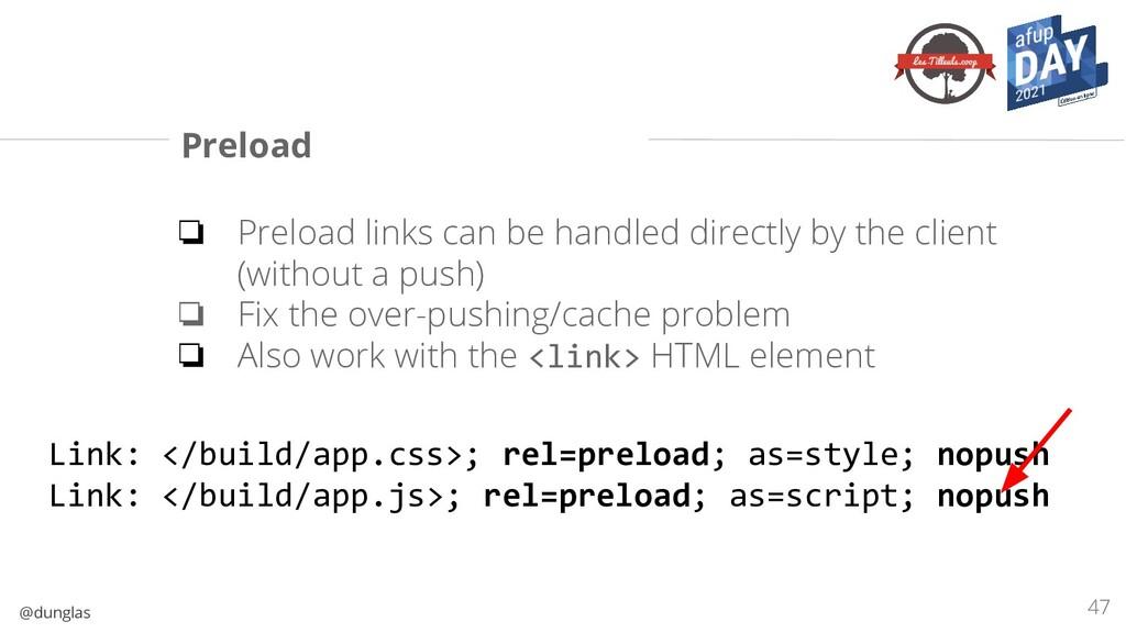 @dunglas Preload ❏ Preload links can be handled...