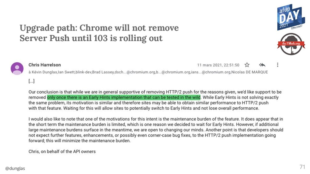 @dunglas Upgrade path: Chrome will not remove S...