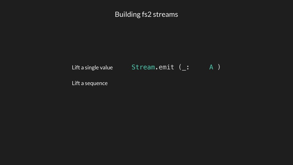 Lift a single value Lift a sequence Stream.emit...