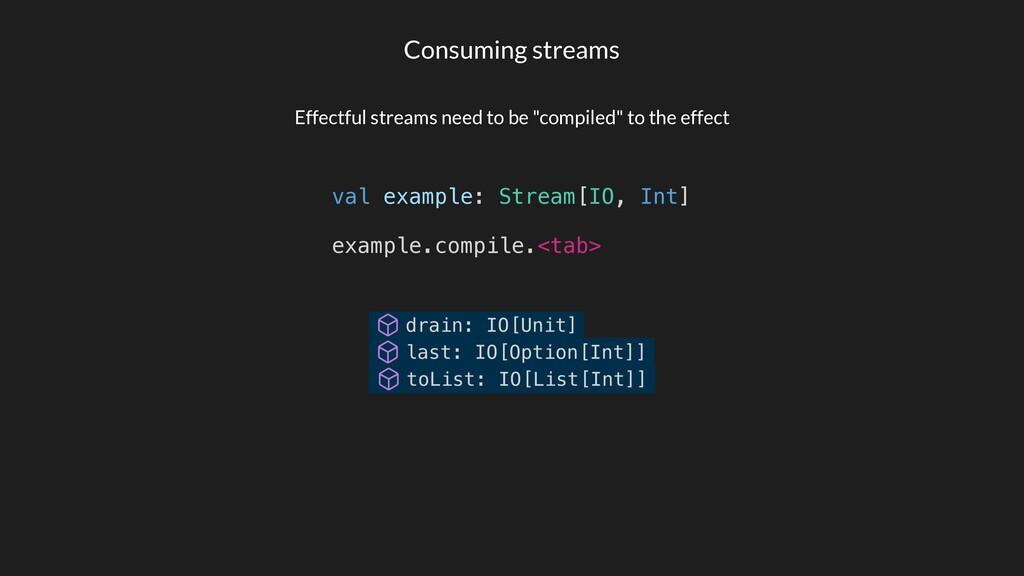Consuming streams val example: Stream[IO, Int] ...