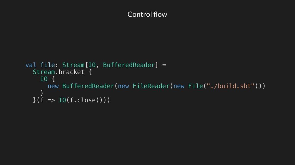 Control flow Stream.bracket { IO { new BufferedR...