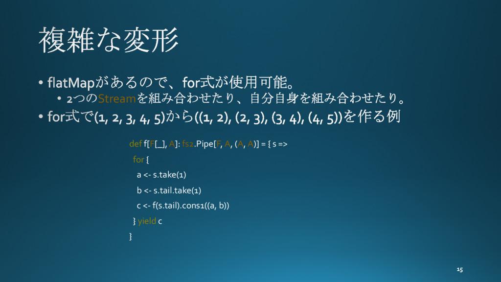 Stream def f[F[_], A]: fs2.Pipe[F, A, (A, A)] =...