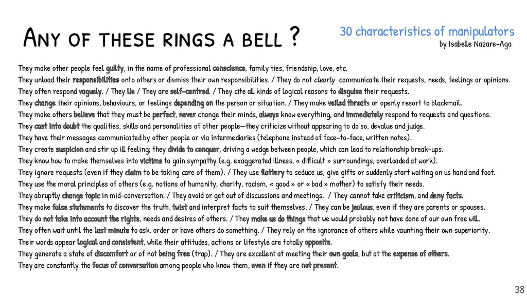 Any of these rings a bell ? 38 They make other ...