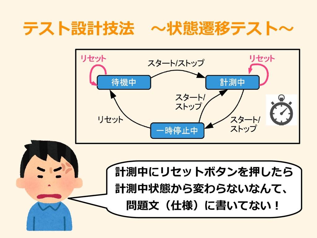 テストをどうやれば良設計技法 ~状態遷移テストをどうやれば良~ 計測中でのにリセットをどうやれ...