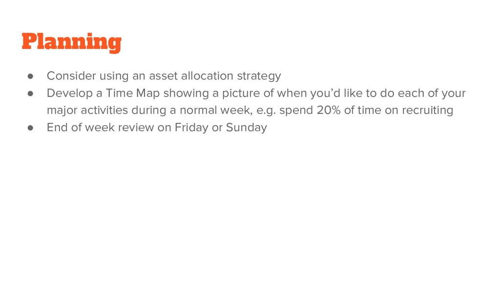 Planning ● Consider using an asset allocation s...