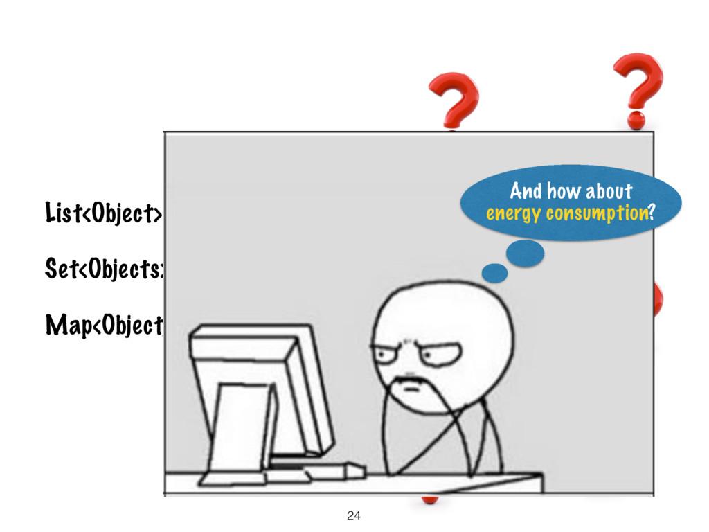 24 List<Object> lists = …; Set<Objects> sets = ...