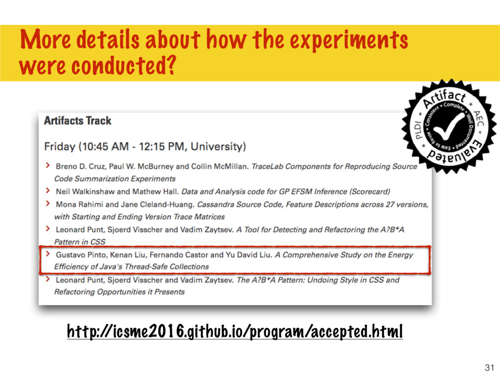 31 More details about how the experiments were ...