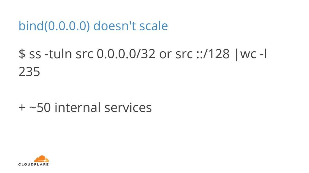 bind(0.0.0.0) doesn't scale $ ss -tuln src 0.0....