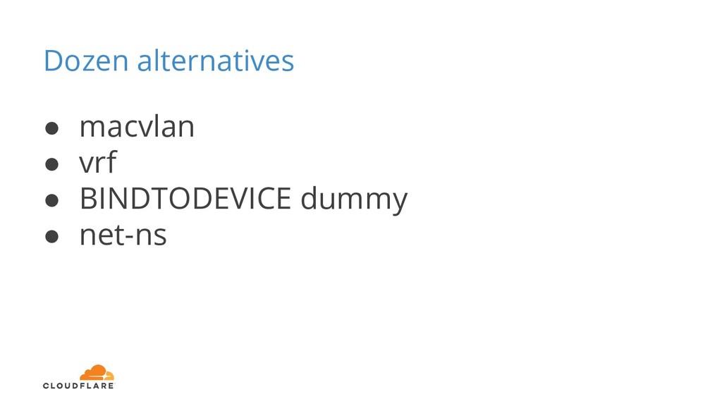 Dozen alternatives ● macvlan ● vrf ● BINDTODEVI...