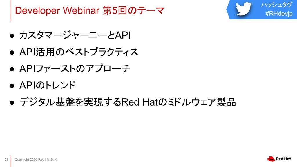 ハッシュタグ #RHdevjp Copyright 2020 Red Hat K.K. 29 ...