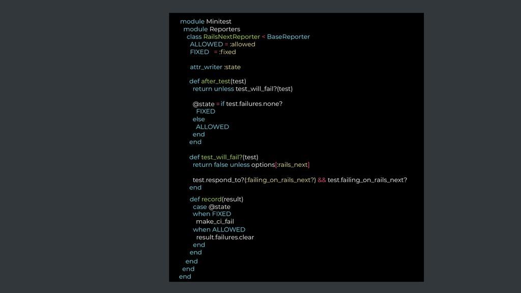 module Minitest module Reporters class RailsNex...
