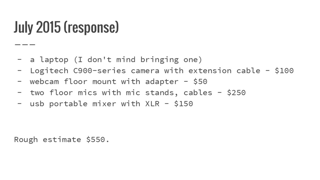 July 2015 (response) - a laptop (I don't mind b...