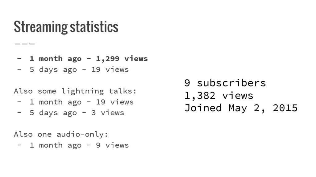 Streaming statistics - 1 month ago - 1,299 view...