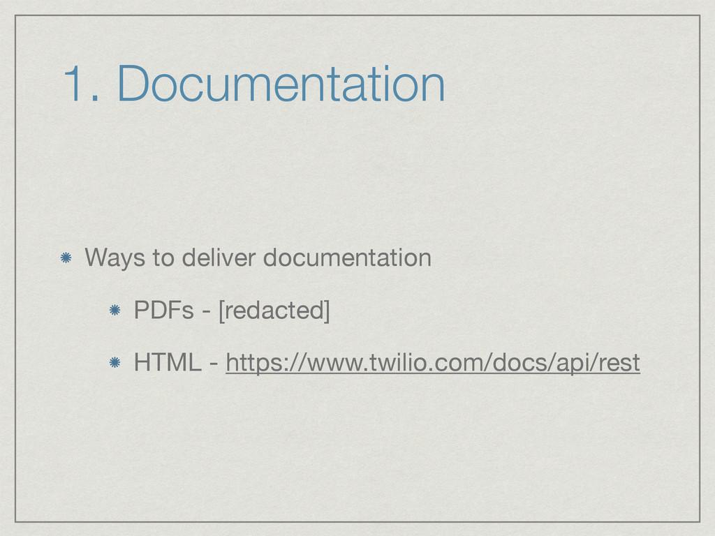 1. Documentation Ways to deliver documentation ...
