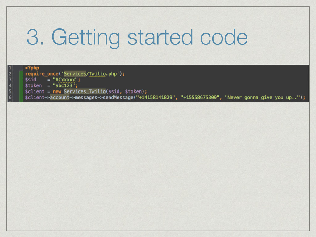 3. Getting started code